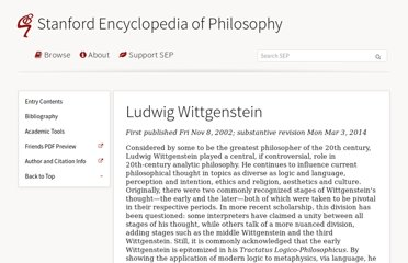 http://plato.stanford.edu/entries/wittgenstein/