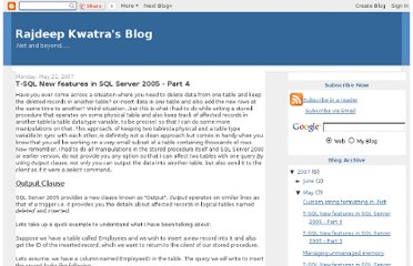 http://rajkwatra.blogspot.com/2007/05/t-sql-new-features-in-sql-server-2005_21.html