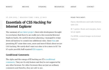 http://www.maratz.com/blog/archives/2005/06/16/essentials-of-css-hacking-for-internet-explorer/