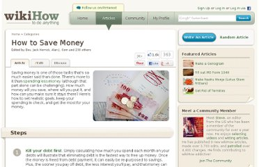 http://www.wikihow.com/Save-Money