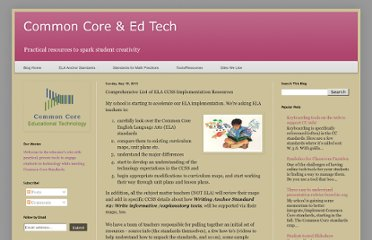 http://www.ccedtech.com/2013/05/comprehensive-list-of-ela-ccss.html#.UZwaPNGI70O