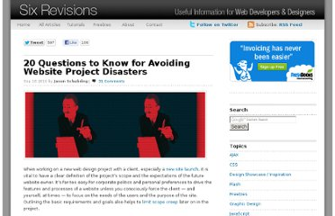http://sixrevisions.com/project-management/20-questions-to-know-for-avoiding-website-project-disasters/