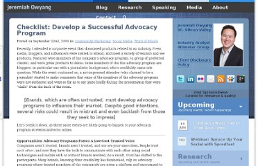 http://www.web-strategist.com/blog/2009/09/22/checklist-develop-a-successful-advocacy-program/