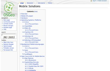 http://wiki.osgeo.org/wiki/Mobile_Solutions#Development_Platforms.2FLanguages