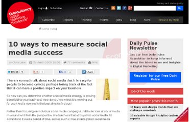 http://econsultancy.com/blog/3407-10-ways-to-measure-social-media-success