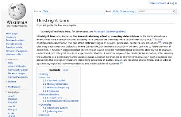 http://en.wikipedia.org/wiki/Hindsight_bias