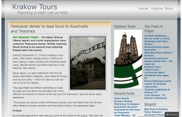 http://cracowtours.wordpress.com/2010/09/16/holocaust-denier-to-lead-tours-to-auschwitz-and-treblinka/