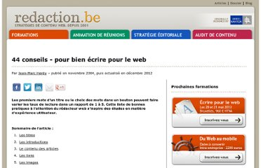 http://www.redaction.be/exemples/44conseils_nov_04.htm#contenudesarticles