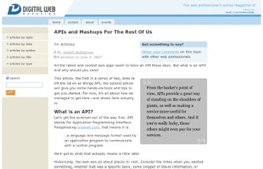 http://www.digital-web.com/articles/apis_and_mashups/