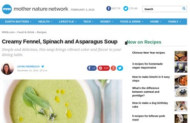 http://www.treehugger.com/easy-vegetarian-recipes/creamy-fennel-spinach-and-asparagus-soup-vegan.html