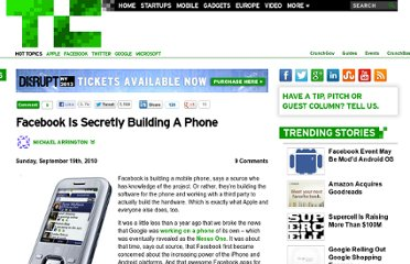 http://techcrunch.com/2010/09/19/facebook-is-secretly-building-a-phone/