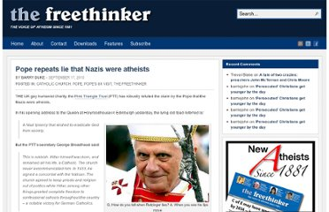 http://freethinker.co.uk/2010/09/17/pope-repeats-lie-that-nazis-were-atheists/