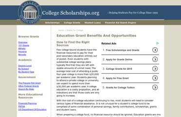 http://www.collegescholarships.org/grants/