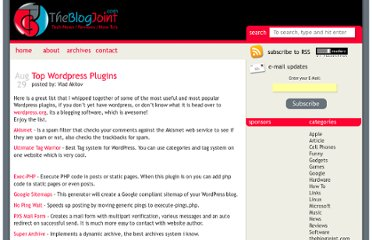 http://theblogjoint.com/2006/08/29/top-wordpress-plugins/
