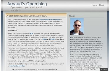 http://lehors.wordpress.com/2008/04/25/a-standards-quality-case-study-w3c/