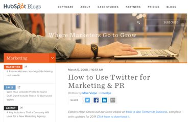 http://blog.hubspot.com/blog/tabid/6307/bid/4034/How-to-Use-Twitter-for-Marketing-PR.aspx
