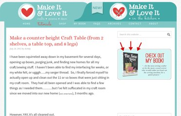 http://www.makeit-loveit.com/2012/07/make-a-counter-height-craft-table-from-shelves-legs-and-a-table-top.html