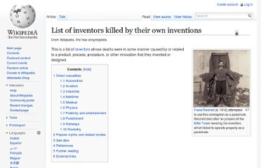 http://en.wikipedia.org/wiki/List_of_inventors_killed_by_their_own_inventions