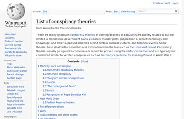 http://en.wikipedia.org/wiki/List_of_conspiracy_theories