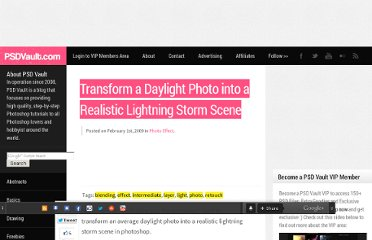 http://www.psdvault.com/photo-effect/transform-a-daylight-photo-into-a-realistic-lightning-storm-scene/
