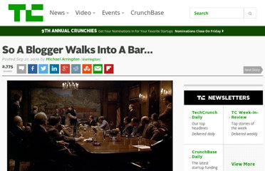 http://techcrunch.com/2010/09/21/so-a-blogger-walks-into-a-bar/