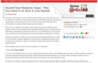 http://ezinearticles.com/?Search-Your-Business-Name---Why-You-Need-To-and-How-To-Get-Started&id=143386