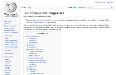 http://en.wikipedia.org/wiki/List_of_computer_magazines