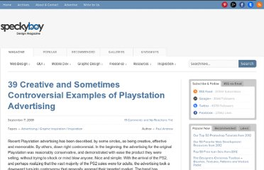 http://speckyboy.com/2009/09/07/39-creative-and-sometimes-controversial-examples-of-playstation-advertising/