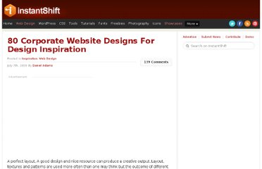 http://www.instantshift.com/2009/07/07/80-corporate-website-designs-for-design-inspiration/