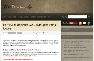 http://webdeveloperplus.com/css/15-ways-to-improve-css-techniques-using-jquery/