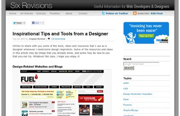 http://sixrevisions.com/web_design/inspirational-tips-and-tools-from-a-designer/