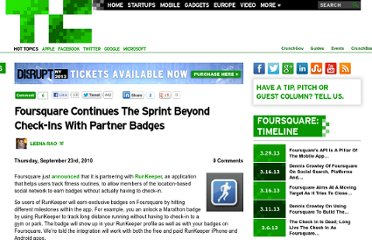 http://techcrunch.com/2010/09/23/foursquare-continues-the-sprint-beyond-the-check-in-with-partner-badges/