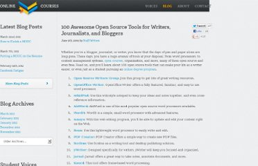 http://www.onlinecollegecourses.com/2009/06/09/100-awesome-open-source-tools-for-writers-journalists-and-bloggers/