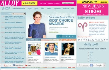 Top teen site for fashion, celebrities, horoscopes & quizzes - Alloy.com