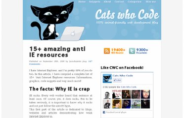 http://www.catswhocode.com/blog/15-amazing-anti-ie-resources