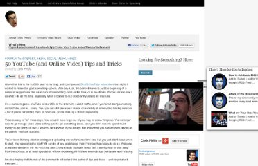 http://chris.pirillo.com/50-youtube-and-online-video-tips-and-tricks/
