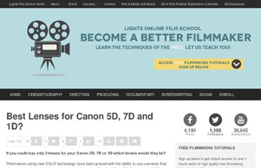 http://www.lightsfilmschool.com/blog/best-lenses-for-canon-5d-7d-and-1d/887/