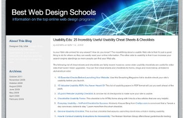 http://bestwebdesignschools.com/2009/usabilityedu-25-incredibly-useful-usability-cheat-sheets-checklists/