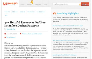 http://www.smashingmagazine.com/2009/06/15/40-helpful-resources-on-user-interface-design-patterns/