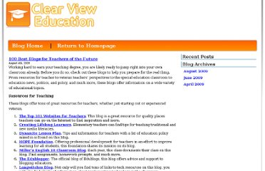 http://www.clearvieweducation.com/blog/2009/100-best-blogs-for-teachers-of-the-future/