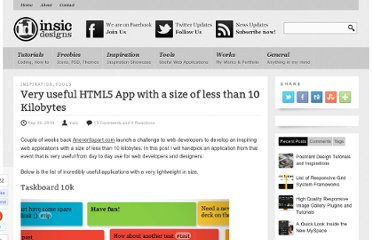 http://blog.insicdesigns.com/2010/09/very-useful-html5-app-with-a-size-of-less-than-10-kilobytes/