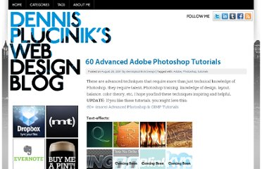 http://www.dennisplucinik.com/blog/2007/08/28/60-advanced-adobe-photoshop-tutorials/