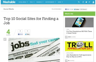 http://mashable.com/2009/02/24/top-10-social-sites-for-finding-a-job/