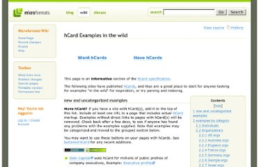 http://microformats.org/wiki/hcard-examples-in-wild#examples_by_category