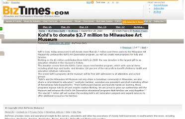 http://www.biztimes.com/daily/2010/9/28/kohls-to-donate-27-million-to-milwaukee-art-museum