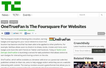 http://techcrunch.com/2010/09/27/onetruefan-is-the-foursquare-for-websites/