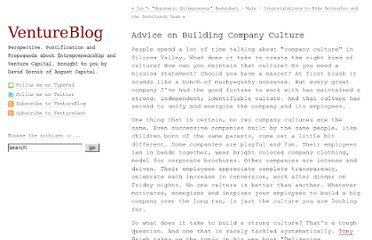 http://www.ventureblog.com/2010/09/advice-on-building-company-culture.html