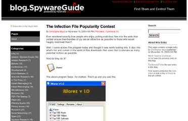 http://blog.spywareguide.com/2009/11/the-infection-file-popularity.html
