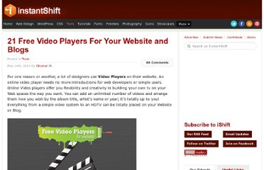 http://www.instantshift.com/2010/05/14/21-free-video-players-for-your-website-and-blogs/