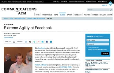 http://cacm.acm.org/blogs/blog-cacm/51564-extreme-agility-at-facebook/fulltext